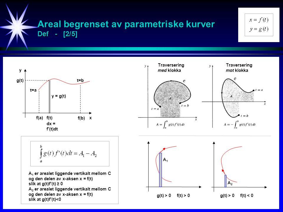 Areal begrenset av parametriske kurver Def - [2/5]
